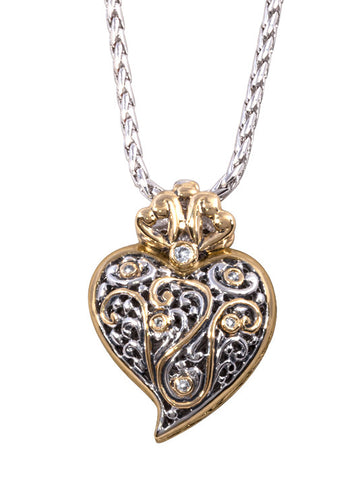 Viana Filigree Heart Pendant with CZ & Chain