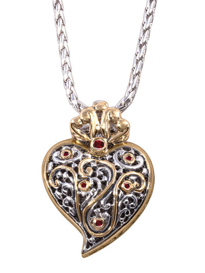 Viana filigree heart pendant with cz chain john medeiros jewelry viana filigree heart pendant with cz chain aloadofball Gallery