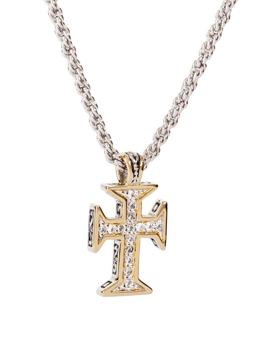 Pavé Maltese Cross with Chain