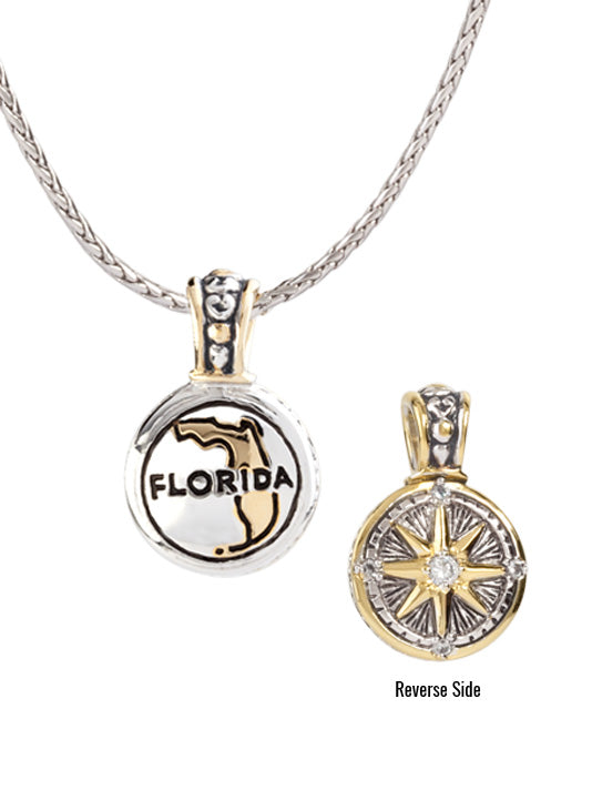 Custom Florida Necklace - reversible to compass rose
