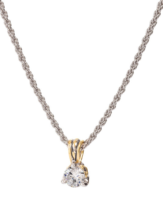 Beijos Collection 7mm CZ Prong Set Pendant Necklace