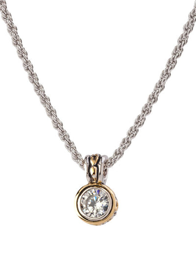 Beijos Collection 7mm CZ Bezel Set Pendant Necklace