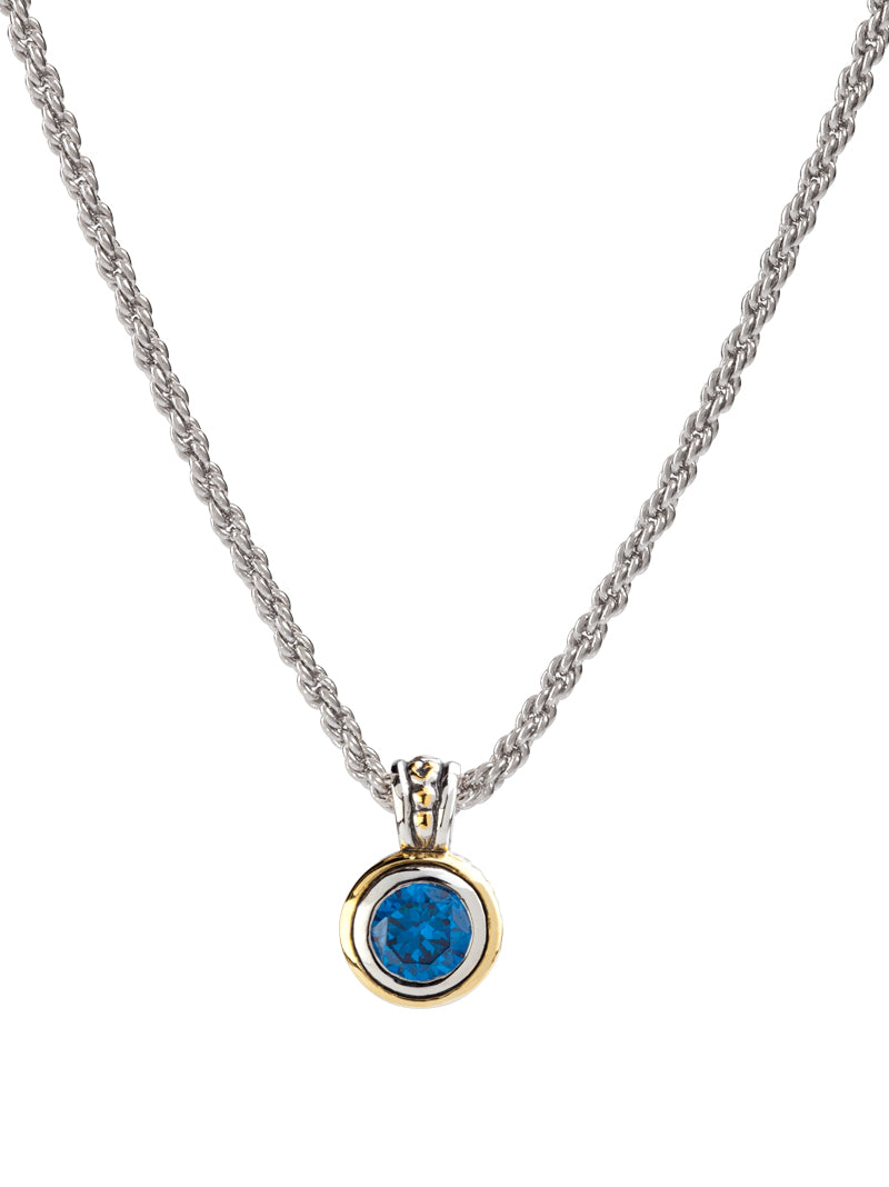 Beijos 8mm Bezel Set CZ Pendant Necklace