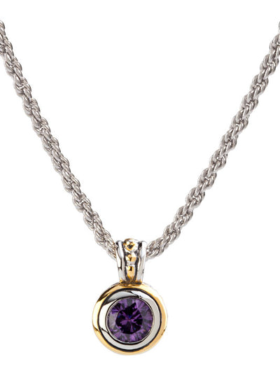 Beijos Bezel Set Amethyst CZ Pendant Necklace