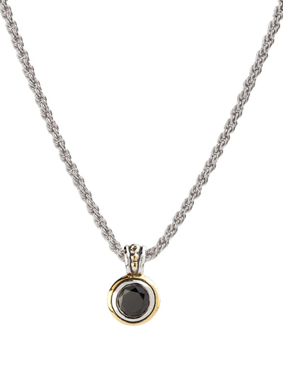 Beijos Bezel Set Black CZ Pendant Necklace