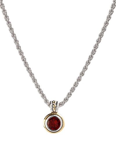 Beijos Bezel Set Garnet CZ Pendant Necklace