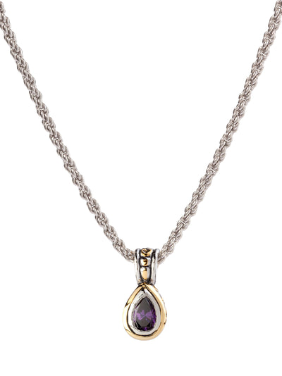 Beijos 9x6mm Amethyst CZ Pear Shape Bezel Set Pendant Necklace