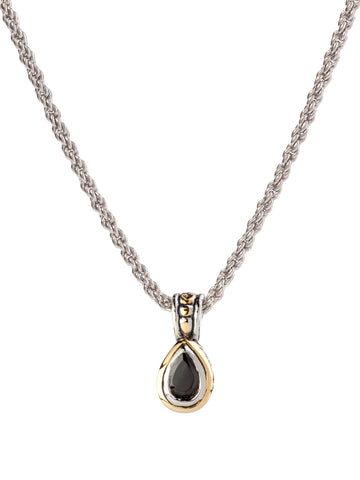 Beijos 9x6mm Black CZ Pear Shape Bezel Set Pendant Necklace