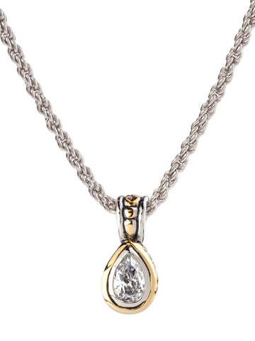 Beijos Collection 9x6mm CZ Pear Shape Bezel Set Pendant Necklace