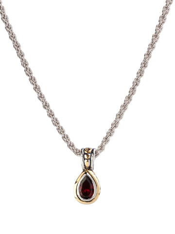 Beijos 9x6mm Garnet CZ Pear Shape Bezel Set Pendant Necklace