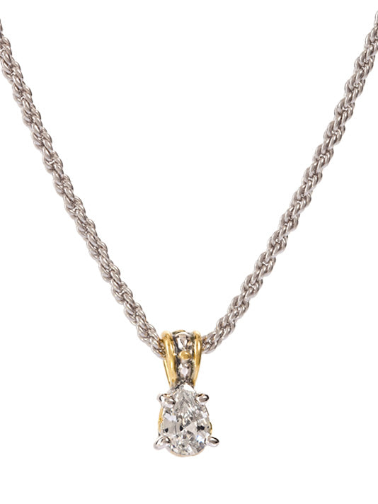 Beijos 9x6mm CZ Pear Shape Prong Set Pendant Necklace