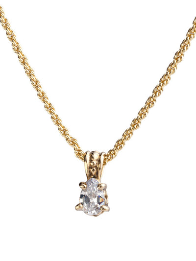 Beijos Collection 9x6mm CZ Pear Gold Prong Set Pendant Necklace