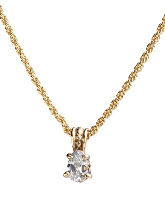 Beijos 9x6mm CZ Pear Shape Gold Prong Set Pendant Necklace