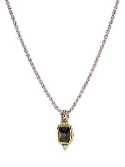 Nouveau Barrel Black CZ Pendent with Chain
