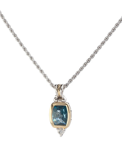 Nouveau Barrel aqua CZ Pendent with Chain