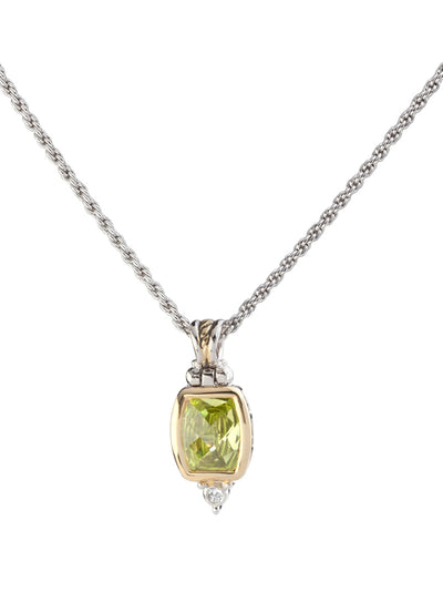 Nouveau Barrel peridot CZ Pendent with Chain