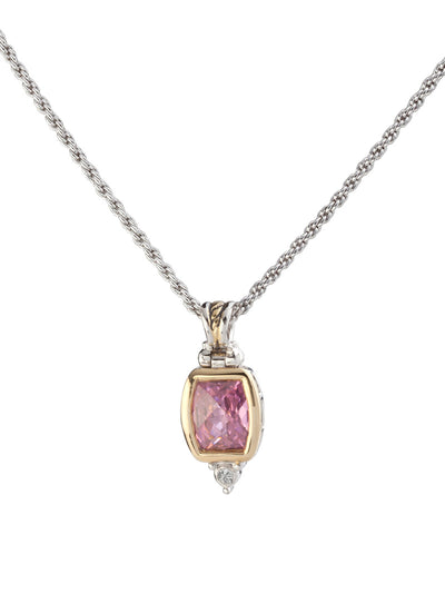 Nouveau Barrel CZ Pendent with Chain