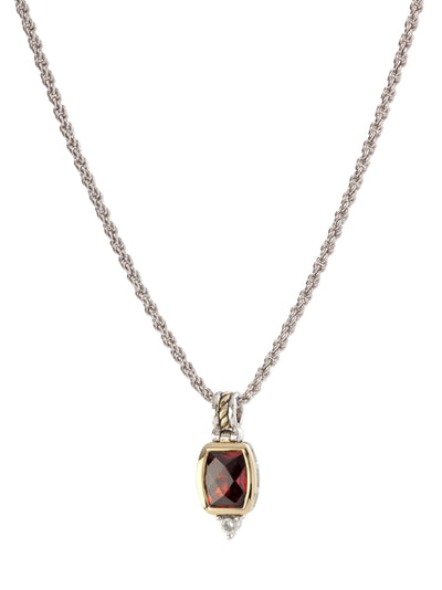 Nouveau Barrel Garnet CZ Pendent with Chain