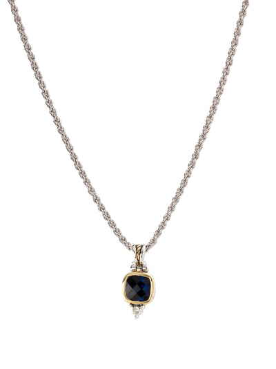 Nouveau Square Indigo CZ Pendent with Chain