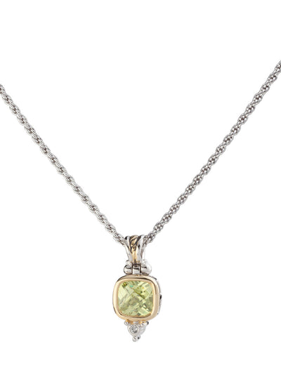 Nouveau Square CZ Pendent with Chain