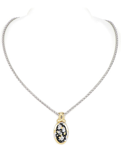 Carvão Medium Oval Lava Pendant with Chain