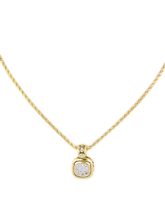 Nouveau 8x8 Cushion Pavé Gold Pendent with Chain