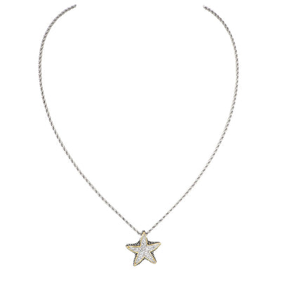 Ocean Images Seaside Collection Small Pavé Starfish Slider with Chain