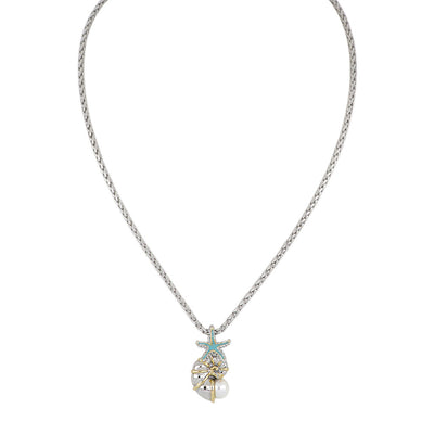 Caraíba White Pearl Nautilus Shell Pendant Necklace