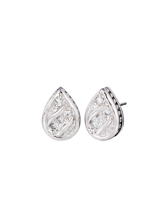 Ocean Images Sparkling Seas Pavé Teardrop Stud Earrings