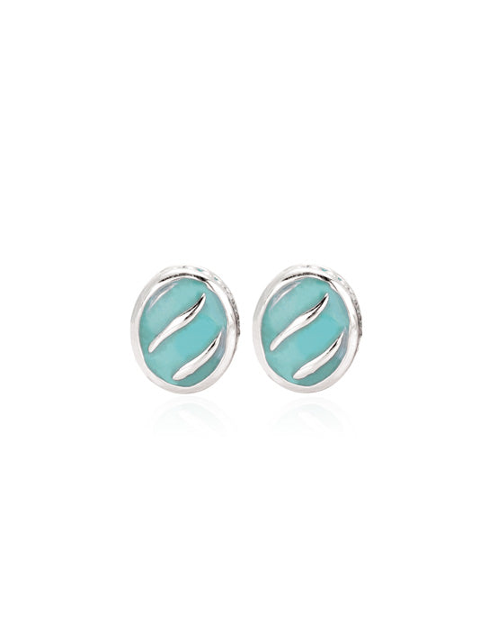 Ocean Images Turquoise Round Stud Earrings