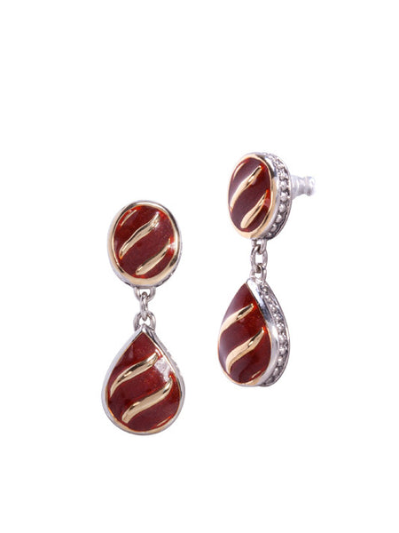 Lattice Collection - Carnelian Post Drop Earrings