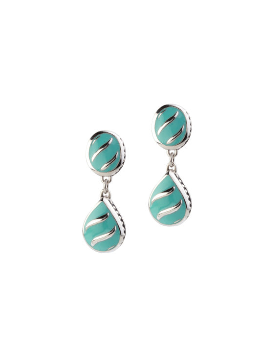Lattice Collection - Turquoise Post Drop Earrings