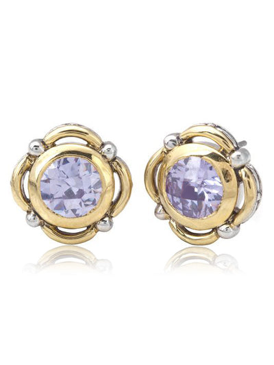 Nouveau Collection Simplicity Round Lavender Stud Earrings