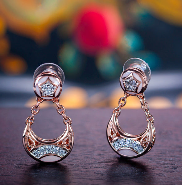 Rose Gold Drop Post Earrings