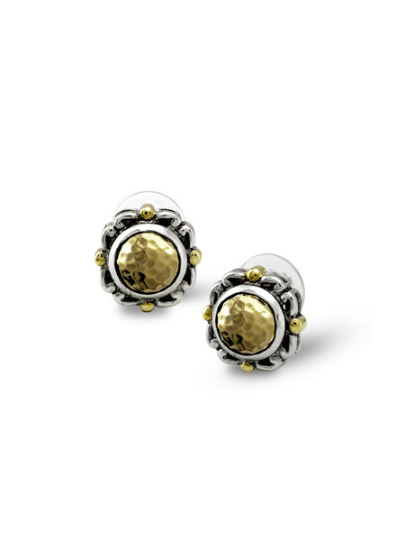 Nouveau Simplicity Hammered Antique Round Earrings