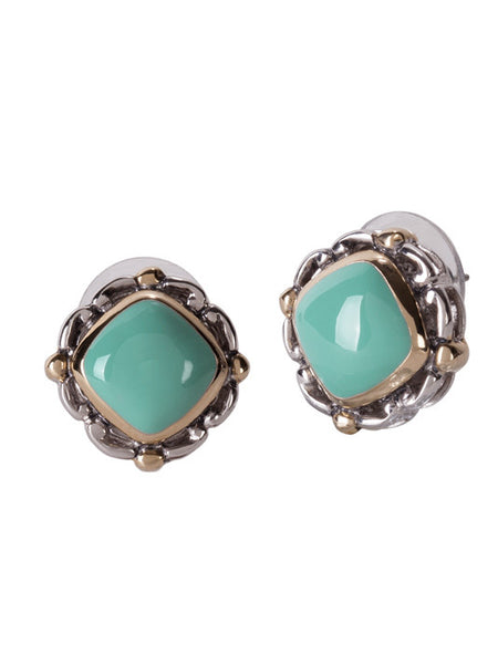 Nouveau Simplicity Turquoise Square Earrings