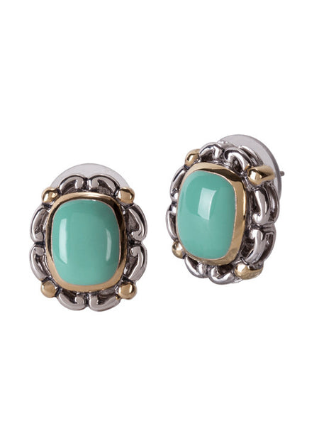 Nouveau Simplicity Turquoise Oval Earrings