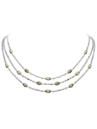 Beaded Pavé Triple Strand Necklace - John Medeiros Jewelry Collections