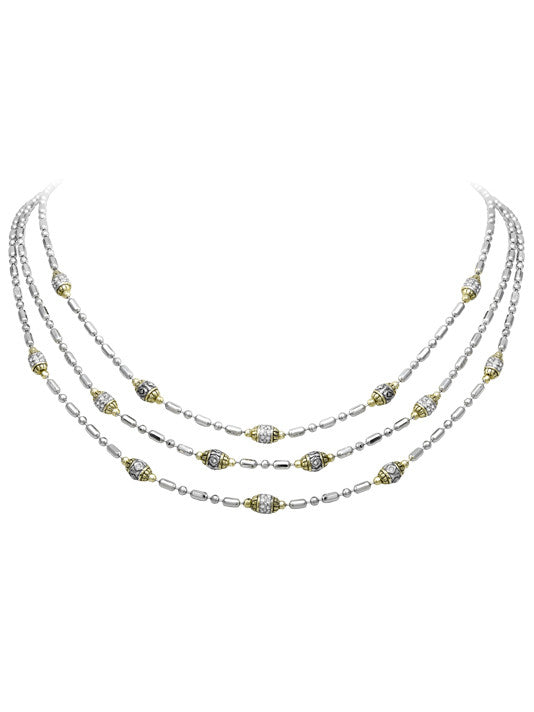 Pav̩ Triple Strand Beaded Necklace by John Medeiros Jewelry Collections.