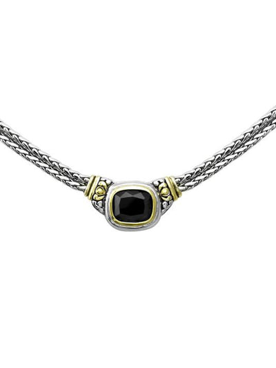 Nouveau Double Strand Necklace in Black by John Medeiros Jewelry Collections., close up.