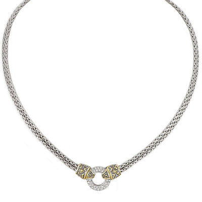 Antiqua Pavé Circle Double Strand Necklace - John Medeiros Jewelry Collections