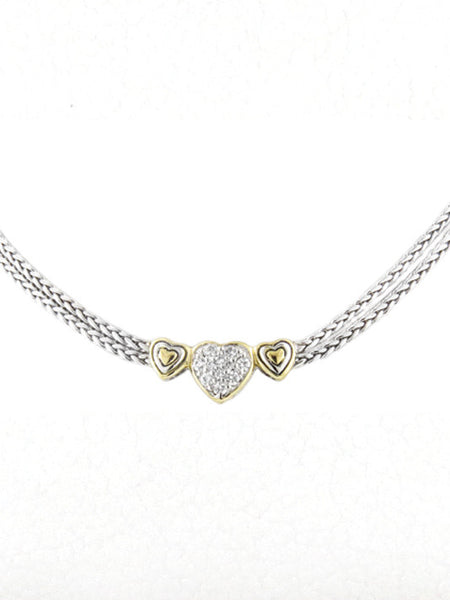 Heart Collection Three Heart Pavé Center Necklace