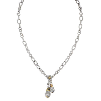 Briolette Pavé Double Drop Necklace