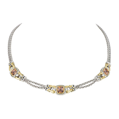 Anvil Square Champagne CZ Three Station Necklace