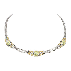 Anvil Square Peridot CZ Three Station Necklace