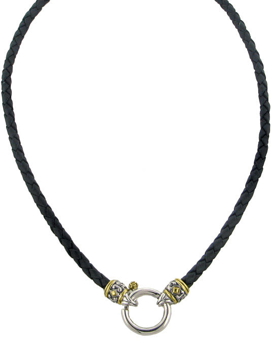Spring Ring Black Leather Necklace