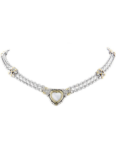 Heart Collection Double Strand Mother of Pearl Necklace