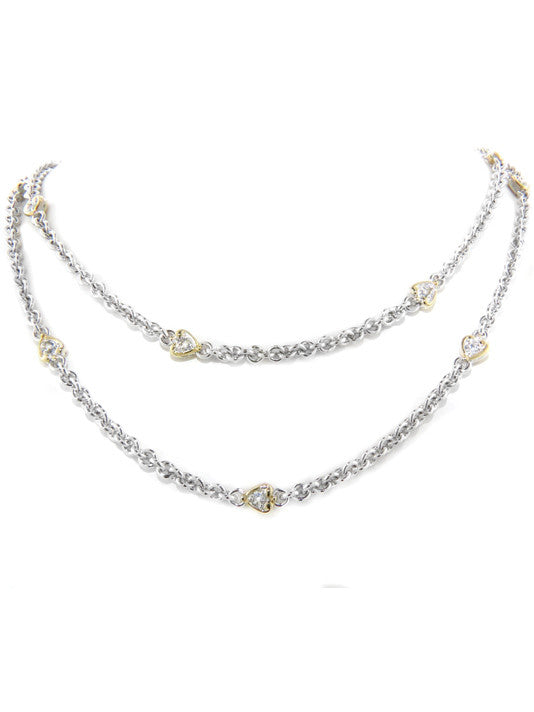 Heart Collection Clear CZ Stone Necklace with Clasp