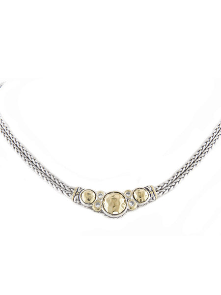 Oval Link Collection Hammered Double Strand Necklace