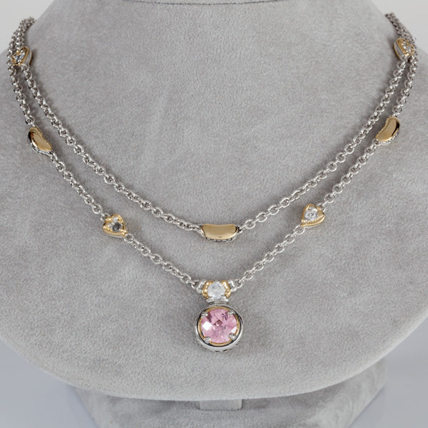 Lanna Collection Pink CZ Double Strand Necklace